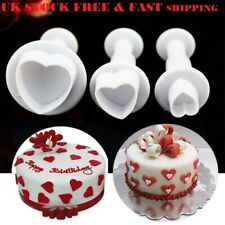 3X HEART CAKE DECORATING SUGARCRAFT TOOL MOULD PLUNGER CUTTER BAKING FONDANT DIY