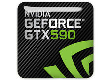 "NVIDIA GeForce GTX 590 1""x1"" Chrom bombiert Fall Aufnäher/Sticker Logo"