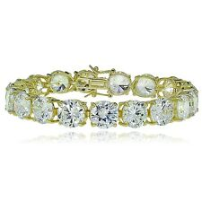 Gold Tone over Sterling Silver 9mm Round Cubic  Zirconia Tennis Bracelet