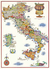 Pictorial Map of the Wine Regions in Italy, Sardinia, Sicily Kitchen Bar Deco