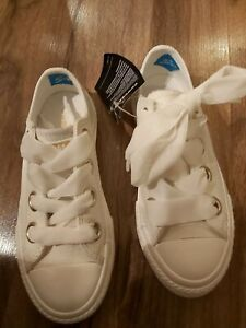 New Ivory Converse leather silky Ribbon Laces -girls trainers junior UK12 EU30.5
