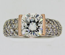 Gelin Abaci Diamond Tension Set Ring with 9mm Moissonite Center Stone  Sz 6 3/4