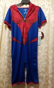 NWT Boys Marvel Spiderman Hooded Pajama Medium 7/8