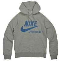 Nike Sportswear Swoosh Hoodie Fleece Hooded Hoody Sweatshirt Gray Blue S-3XL