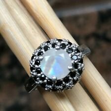 Natural Rainbow Moonstone, Spinel 925 Solid Sterling Silver Engagement Ring sz 8
