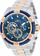 Invicta Men's 52mm Bolt Chronograph Blue Dial Gold 2tone Stainless Steel Watch