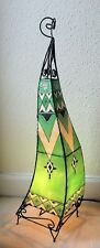 Painted Moroccan Henna Floor Lamp-  Square- green 100CM