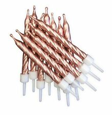 Metallic Rose Gold Cake Candles 12pk Wedding Happy Birthday Party Decoration