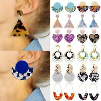 Women Boho Geometric Dangle Hook Acrylic Resin Ear Stud Earrings Jewellery Gift