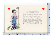 Whitney Made Valentine - Vintage Postcard Boy in Overalls with Dog