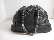 PRADA Black Sparkly Lambskin Hobo Bowler Satchel Chain Strap Handbag Bag Purse
