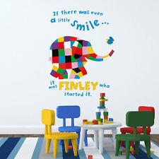 Personalised Elmer little smile wall sticker | Official Elmer the elephant decor