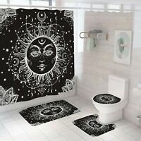 Sun-God Shower Curtain Set Bathroom Rug Thick Bath Mat Non-Slip Toilet Lid Cover