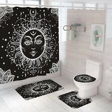 Sun-God Shower Curtain Set Thick Bathroom Rug Bath Mat Non-Slip Toilet Lid Cover