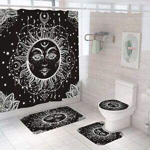 Sun-God Shower Curtain Set Bathroom Rug Thick Bath Mat Non-Slip Toilet Lid Cover
