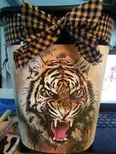 "beautiful tiger wild stripes cat Decorative Trash Can 12"" high Bathroom Laundry"