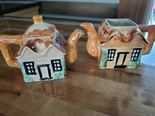 Vintage House Cottage Hand Painted Ceramic Teapots Pico Made in Japan