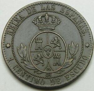 SPAIN 1 Centimo de Escudo 1868 OM - Bronze - Isabel II - XF - 1497 ¤