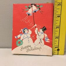 Vtg Christmas Card Snowman Woman Bells Trumpet