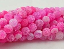 """6mm Pink Frost Dream Fire Dragon Veins Agate Loose Beads Gems 15"""""""