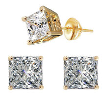 3.00 TCW Princess Cut Stud Earrings Screw Back Solid 14k Real Yellow Gold D/VVS1