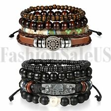 2 Sets(8pcs) Men Women Leather Bracelet Beaded Bangle Adjustable Wristband Cuff