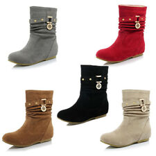 Womens Buckle Mid-calf Boots Flat Slip On Slouch Boots Round Toes Shoes Sizes