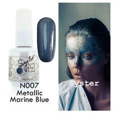 SYSTER 15ml Nail Art Soak Off Color UV Gel Polish N007 - Metallic Marine Blue