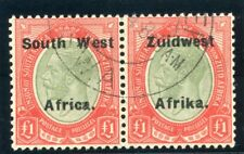 South West Africa 1926 KGV £1 pale olive-green & red VFU. SG 40a.