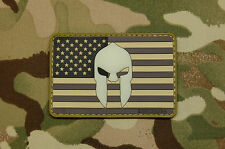 US Spartan Helmet SWAT Flag PVC Glow In Dark Police Morale Patch Molon Labe