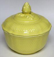 "Yellow Bon VIvant Faience Covered Vegetable Dish Bowl 8"" France"