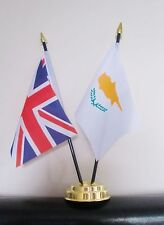 UNION JACK AND CYPRUS TABLE FLAG SET 2 flags plus GOLDEN BASE