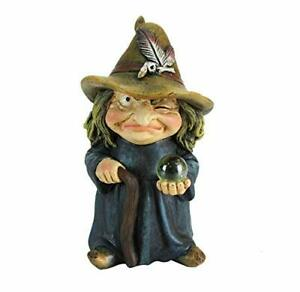 Trouble Witch Figurine - Cute Little witch with Crystal Ball Ornament
