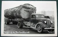 """Logging in the Northwest""  Old Growth Log on Truck antique RPPC"