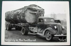 """""""Logging in the Northwest""""  Old Growth Log on Truck antique RPPC"""