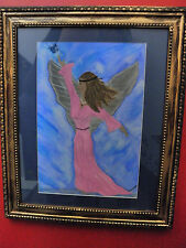 """Blue Skies & Butterfly Kisses"" Beautiful Framed WaterColor-Great Blend of color"