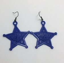 Large Blue Sheriff Star Eagle Acrylic Earrings D212 Kitsch Fun 6 cm