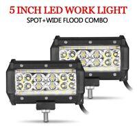 2X 5in LED Work Driving Light Bar Combo Flood Spot Fog Offroad SUV Truck ATV UTV