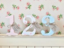 Shabby Chic Personalised Free Standing Floral Polka Dot Wooden Number Birthday