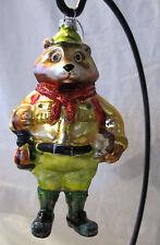 Bear Fox Boy Scout Camping w/backpack handbook Bandana Glass Xmas Ornament