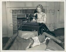 1932 Pretty 1930s Woman Using Vintage Sewing Machine by Fireplace Press Photo