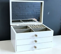 NEW 2DRAWERS LARGE WOODEN JEWELLERY GIFT BOX IN GLOSSY FINISH 6819011 WHITE 2.0k