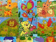 Lot x3 Animals Wooden 9 Pieces Colorful Jigsaw Puzzle Toy Toddler Kids New
