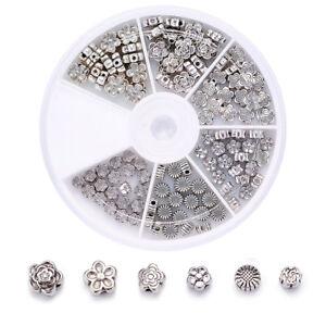 120pcs/Box Tibetan Alloy Flower Metal Beads Antique Silver Loose Spacers 4.5~7mm