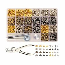 240 Set Snap Fastener Kit, Leather Rivets Double Cap Kit with 7PCS Fixing Too...