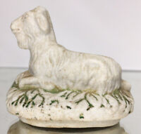 Rare Early Antique 19th C. Staffordshire Goat Pottery Figurine Porcelain Box Lid