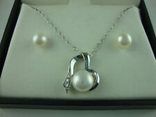 NEW Heart Pearl 3 PC. Set Earrings Necklace Sterling Silver .925 Macy's