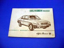 Alfa Romeo 90 2.5 Quadrifoglio Oro Iniezione UK Owner's Manual 1984
