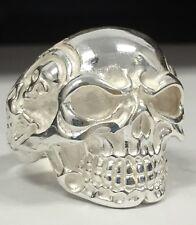 Silver Skull Ring / Biker Sterling Silver Heavy Solid Size 11/ Nt Scrap 925 NEW