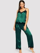 Sexy Lace V Neck Pajamas Set Spaghetti Strap Vest Long Pants Sleeping NightWear